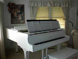 Ivory Grand Piano After with Extra Wide Music Stand